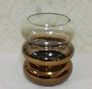 Candelabro de cristal ondulado transparente degradado a humo de 24cm