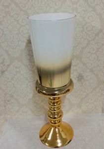 Florero de cristal diseño copa blanco degradado a dorado de 47cm