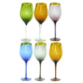 Juego de 6 copas para para vino de cristal