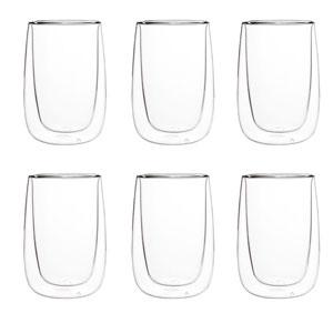Juego de 6 Vasos de cristal con doble forro de 8x13.5cm