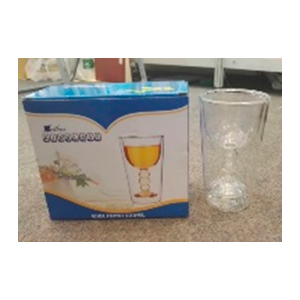 Juego de 2 vasos de cristal con doble forro diseño copa de 6.5x14cmcm
