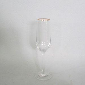Juego de 6 copa para Champagne de cristal con orilla dorada