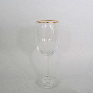 Juego de 6 copa para Vino de cristal con orilla dorada