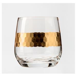 Juego de 6 Vasos de cristal con línea dorada