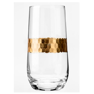 Juego de 6 Vasos para agua de cristal con línea dorada