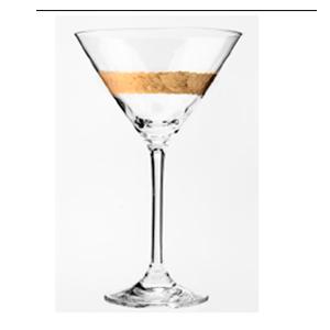 Juego de 6 copas martineras de cristal con línea dorada