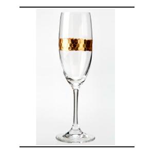 Juego de 6 copas para champagne de cristal con línea dorada