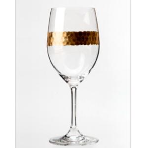 Juego de 6 copas para agua de cristal con línea dorada