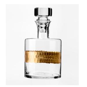 Licorera de cristal con línea dorada
