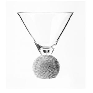 Juego de 6 copas martineras de cristal con mango diseño bola plateada