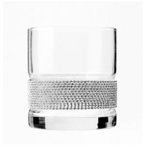 Juego de 6 vasos de cristal para Wiski con línea de cadena plateada
