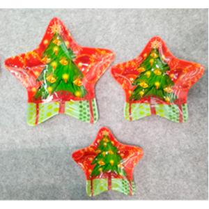 Plato de cristal diseño estrella con árbol de navidad de 19.5x19.5x3.3cm