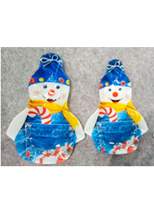 Plato de cristal diseño muñeco de nieve de 18.9x2.3x26.5cm