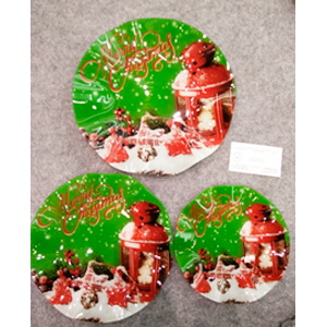 Plato de cristal redondo con estampado navideño rojo y verde de 20x20x1.8cm
