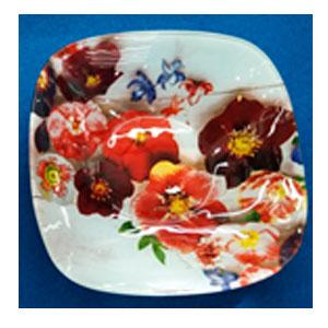 Plato de cristal cuadrado blanco con estampado de Orquídeas rojas de 19x19x4cm