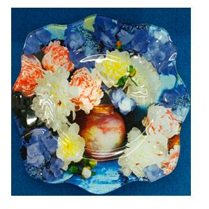 Plato de cristal Ondulado con estampado de flores de 25.3x25.5x2.1cm