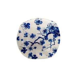 Plato de cristal blanco con estampado de flores azules de 20x20x1.7cm