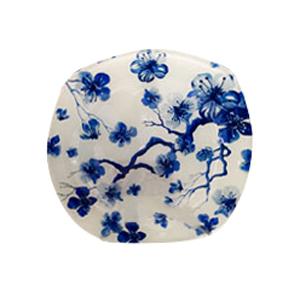 Plato de cristal blanco con estampado de flores azules de 25x25x1.8cm