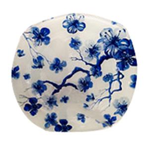 Plato de cristal blanco con estampado de flores azules de 30x30x2.5cm
