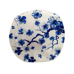 Plato de cristal blanco con estampado de flores azules de 25x25x3.9cm