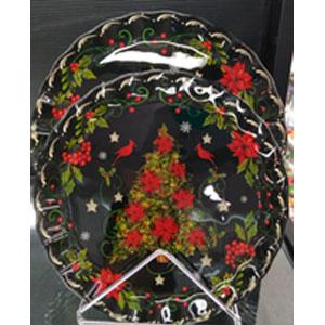 Plato de cristal negro con estampado de árbol de navidad de 23x23x2.2cm