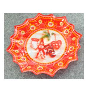 Plato de cristal diseño estrella con estampado navideño rojo de 28.5x28.5x2.3cm