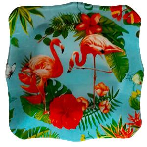 Plato de cristal cuadrado con estampado de flamingos de 24.2x24.2x3.9cm