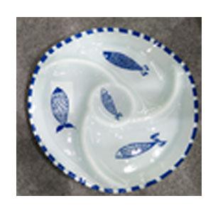 Plato de cristal redondo con divisiones  y estampado de peces azules de 29.3x29.3x2.3cm
