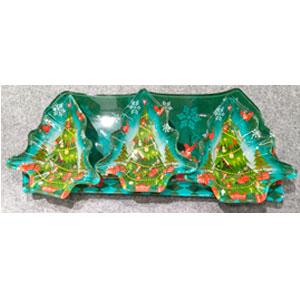 Charola rectangular de con 3 platos diseño pino de cristal de 38.7x14cm/14.2x13.7x3.5cm
