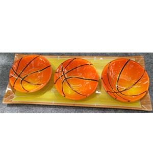 Charola rectangular de con 3 platos diseño Balones de basketball de cristal de 38x15/12x12cm