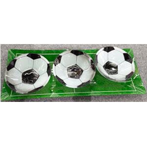 Charola rectangular de con 3 platos diseño Balones de Fútbol de cristal de 38x15/12x12cm