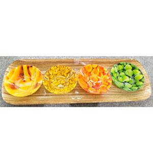 Charola rectangular con 4 platos y estampado de frutas de 42x15/9.7x9.7cm