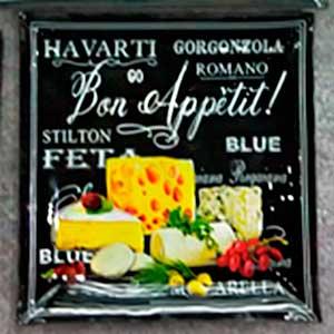 Plato cuadrado de cristal diseño Letrero de Quesos de 30x30x2.8cm