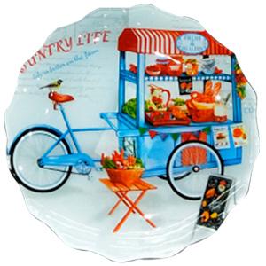 Plato de cristal diseño carrito con frutas y legumbres de 25x25x2.8cm