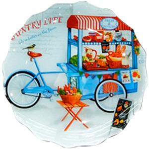 Plato de cristal diseño carrito con frutas y legumbres de 30x30x2.8cm