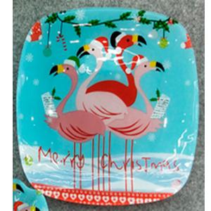 Plato cuadrado de cristal diseño flamingos 25x25x1.8cm
