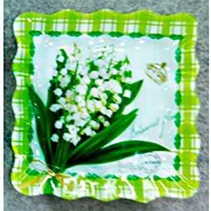 Plato de cristal cuadrado diseño flores blancas de 25x25x2.2cm