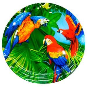 Plato de cristal diseño guacamayas de colores de 25x25x1.5cm