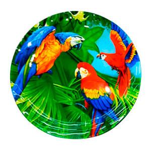 Plato de cristal diseño guacamayas de colores de 18x18x3cm