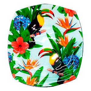 Plato cuadrado de cristal diseño flores y Tucanes de 25x25x2.5cm