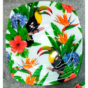 Plato redondo de cristal diseño flores y Tucanes de 18x18x5cm