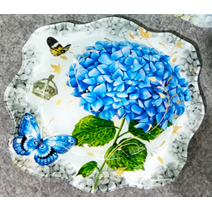 Plato de cristal diseño Hortensia y mariposa morada de 19x19x3.8cm