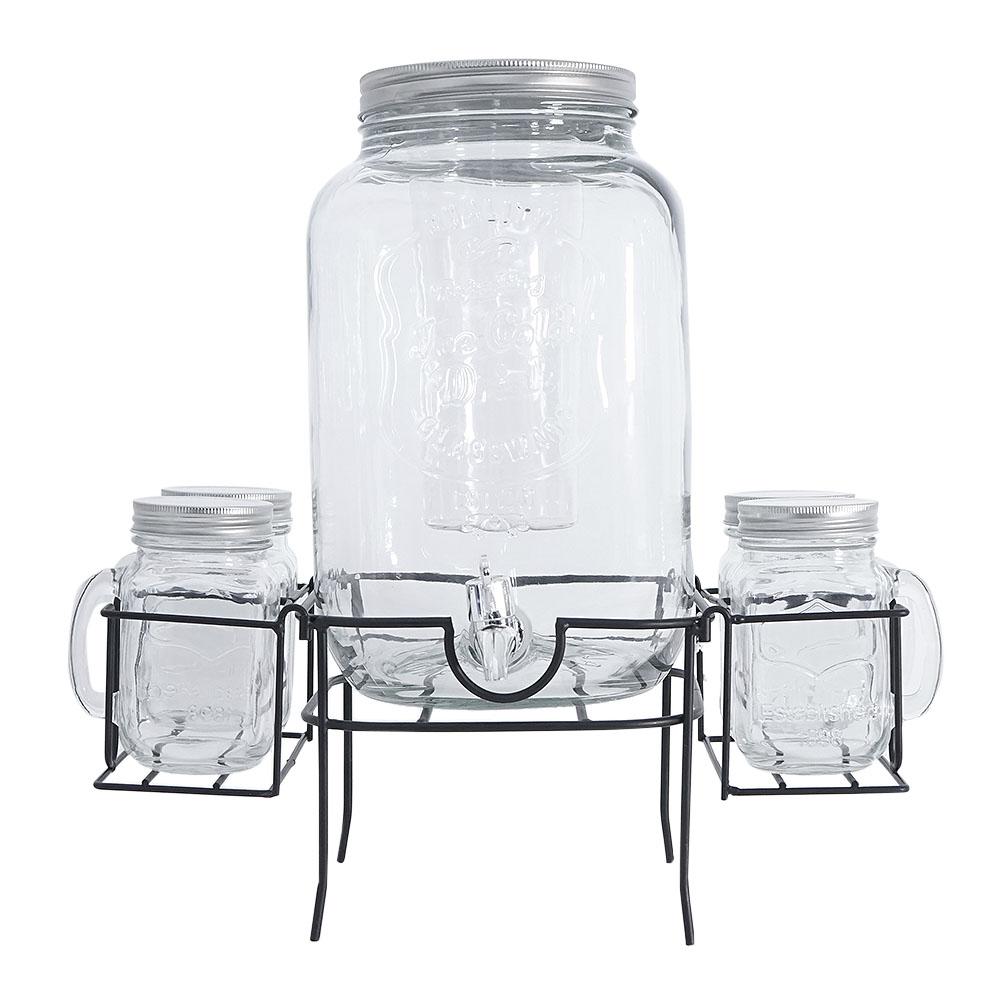 Vitrolero de cristal c/depósito p/hielo con 4 tarros de tapa en base de metal p/7lt 30x25x56cm