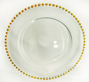 Plato de presentacion de cristal redondo c/orilla de perlas doradas de 32cm