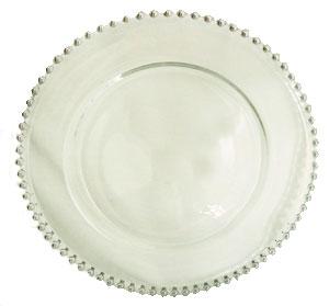 Plato de presentacion de cristal redondo c/orilla de perlas plateadas de 32cm