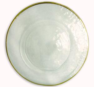 Plato de presentacion de cristal redondo c/orilla dorada de 33cm