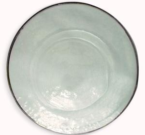 Plato de presentacion de cristal redondo c/orilla plateadas de 33cm