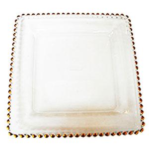 Plato de presentacion de cristal cuadrado c/perlas doradas de 30x30cm