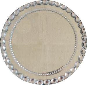 Plato de presentacion con cuentas ovaladas diseño espejo de 30x30cm