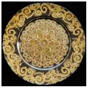 Plato de presentación de cristal con diseño en color dorado de 33cm